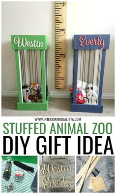 Grandparents this adorable stuffed animal zoo is such a great DIY gift idea for . Grandparents this adorable stuffed animal zoo is such a great DIY gift idea for grandkids to keep t Stuffed Animal Holder, Stuffed Animal Storage, Homemade Stuffed Animals, Cute Stuffed Animals, Stuffed Animal Zoo, Zoo Animals, Animals For Kids, Diy Craft Projects, Organizing Stuffed Animals