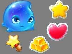Icons and a character from Sky Charms