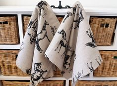 Handmade linen cotton happy chickens tea towels kitchen towels handmade linen cotton horse racing tea towels kitchen towels dish towels perfect easter gift negle Images
