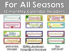 Enjoy this freebie set that includes headers for all 12 months of the year. Each header has the name of the month and clipart that goes along with the month.