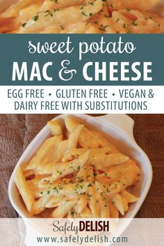 Sweet Potato Mac and Cheese! This allergy friendly recipe is a great way to sneak some extra veggies into your kids' dinner. This sauce is naturally gluten free, and can even be made dairy free / vegan (really!) with a few small substitutions – see recipe Dairy Free Recipes For Kids, Egg Free Recipes, Dairy Free Options, Dinner Recipes For Kids, Gluten And Dairy Free Kids, Vegan Recipes, Juicing Recipes For Beginners, Food Allergies, Mac And Cheese