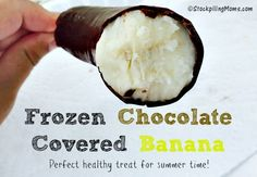 Frozen Chocolate Covered Bananas are such an easy recipe to make with only 4 ingredients. They are such a delicious, healthy summer time dessert!