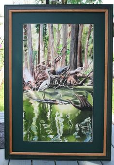 """I painted this Egret in a Lagoon in watercolor. Overall size is 28"""" x 38"""". $275. This was painted from an original photo a friend gave me."""