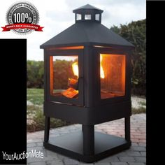 Pagoda Outdoor Fireplace Fire Pit Villa 360 View Steel Spark Screen Locking Door #Crosley