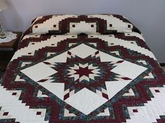 Lone Star Log Cabin Quilt - fenomenal hábilmente hecho Amish Quilts de Lancaster (hs7209)