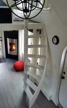 Spiral staircase in a tiny home
