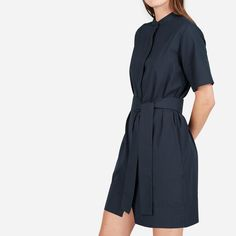 9e8edfed258 The Cotton Collarless Belted Shirtdress - Navy