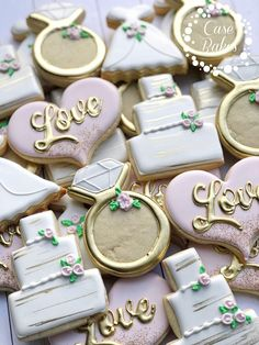 Bridal shower cookies pink and gold - Wedding favors Sugarcookies #Ad #Etsy