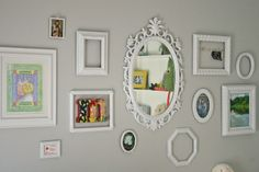 frame collage wall, nursery, mirror, anthropologie initial