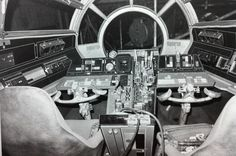 Millennium Falcon cockpit interior set. Presumably for Star Wars A New Hope.: