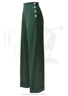 1940s Swing Pants - High Waist - Racing Green £65.00 AT Vintagedancer.com