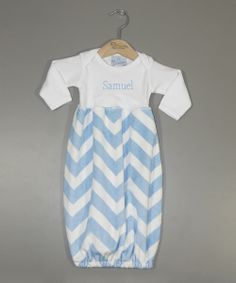 Take+a+look+at+the+Princess+Linens+Layette+Blue+Zigzag+Personalized+Gown+-+Infant+on+#zulily+today!