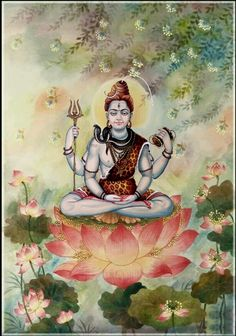 Lord shiva on lotus in creative art painting
