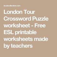 London Tour Crossword Puzzle worksheet - Free ESL printable worksheets made by teachers