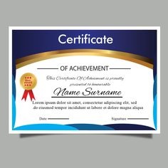 Modern Blue Certificate Template For Diploma Or Award Certificate Of Achievement Template, Award Certificates, Certificate Templates, Basic Software, Award Template, Certificate Of Appreciation, Company Names