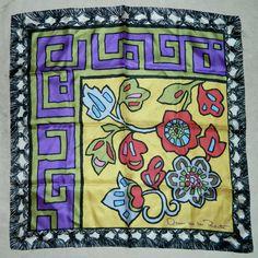 bold silk scarf Oscar de la Renta mosaic floral Greek Key vintage 1980s