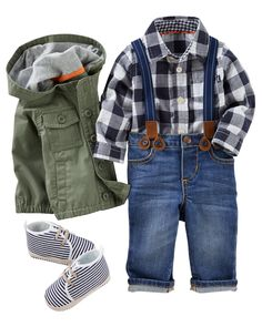 Keep his style in check with a plaid button-front under on-trend olive and suspender pants. Colorful socks and slip-on shoes keep him on his toes! Check the items from this bundle!
