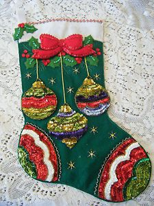 handmade felt christmas stockings | VINTAGE-SEQUIN-BEADED-FELT-CHRISTMAS-STOCKING-HANDMADE-ORNAMENT-DESIGN