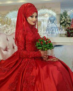 Muslim Wedding Gown, Muslim Wedding Dresses, Wedding Hijab, Wedding Gowns, Muslim Fashion, Hijab Fashion, Red Frock, Hijab Wear, Fantasy Dress