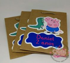 Bolo George Pig, George Pig Party, Peppa Pig Teddy, E Design, Kids, Pig Party, Custom Paper Bags, Personalized Stickers, 3 Year Olds