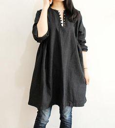 Half open style Linen shirt dress by dreamyil on Etsy, $88.00