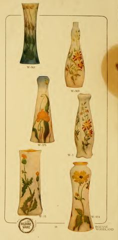 Roseville Rozane Ware Woodland Vases from their 1905 catalog
