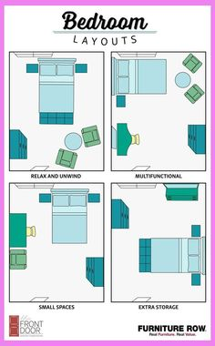 This Bedroom Layout Guide has four bedroom layouts to show how to arrange your b. This Bedroom Layout Guide has four bedroom layouts to show how to arrange your bedroom furniture. Maximize relaxation, storage, and small spaces in style! Bedroom Apartment, Home Bedroom, Budget Bedroom, Apartment Furniture Layout, Bedroom Furniture Layouts, Apartment Design, Apartment Living, Apartment Layout, Living Rooms