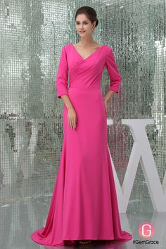 V-neck 3/4 sleeve formal dress