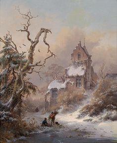 Frederik Marinus Kruseman~Winterlandschaft mit Reisigsammler, signiert FM Kruseman f., Öl auf Holz,  Dateby 1882
