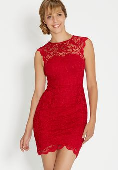 lacy red dress - #ma