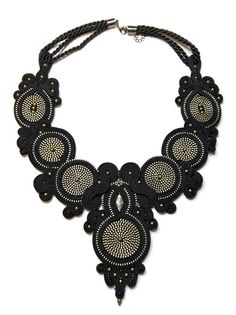 Black zipper soutache necklace