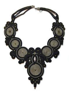 Black zipper soutache necklace
