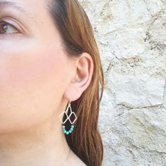 Handmade boho style earrings made of sterling silver and turquoise howlite,a boho chic pair of earrings that make a statement Bohemian Style Jewelry, Boho Style, Boho Chic, Greek Design, Turquoise Earrings, Sterling Silver Earrings, Boho Fashion, Drop Earrings, Elegant