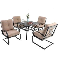 5pc Patio Dining Set With Square Table With Umbrella Hole & 4 Spring Motion Chairs With Cushions - Beige - Captiva Designs : Target Outdoor Dining Furniture, Patio Dining, Patio Table, Dining Set, Outdoor Chairs, Waterproof Cushions, Table Umbrella, Deep Seat Cushions, Steel Table