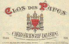 Etiqueta del vino Clos des Papes, de la AOC Châteauneuf du Pape