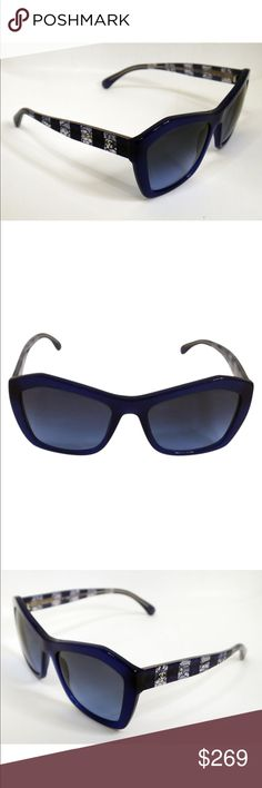 Chanel rare blue sunglasses Brand: CHANEL Frame Color: Blue Lens Color: Blue Gradient  Lens Width: 56 mm Bridge Size: 19 mm Temple: 140 mm Country of Manufacture: Italy  Both lenses have some scratches, which barely affect the vision and is visible only under close inspection. Frame looks really nice, just show some light use wear, which is visible only under close inspection.  5296 1483/S2 Sunglasses Blue / Blue Gradient glasses only CHANEL Accessories Sunglasses
