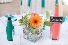 Bright and colorful twine-wrapped centerpieces!