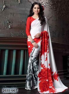 Charming Off White Coloured Crepe Silk Printed Saree