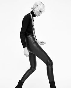 Image 5 of FAUX LEATHER LEGGINGS from Zara