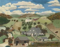 ANNA MARY ROBERTSON (GRANDMA) MOSES (American: 1860-1961) - OLD OAKEN BUCKET (1943) $74,500