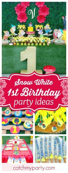 Step into this enchanted Snow White themed 1st Birthday Party. The dessert table is gorgeous!! See more party ideas and share yours at CatchMyParty.com