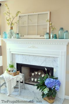 Simple blue + blooms spring mantel Candles In Fireplace, White Fireplace, Fireplace Ideas, Floating Mantel, Long Mirror, Big Bottle, Mantel Ideas, Bottle Display, Spring Home