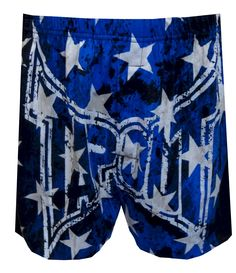 Tapout American Pride Boxer Shorts, $13.50  Show your American pride with these Tapout boxers! These 100% cotton boxer shorts for men feature the Tapout logo on the front in a blue theme highlighted with stars and the rear features an American flag. Machine washable with open edge fly and covered elastic waistband. Black, white and red all over.