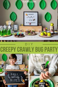 Creepy Crawly Bug Party for all insect enthusiasts! Fun party activities and ide. - Creepy Crawly Bug Party for all insect enthusiasts! Fun party activities and ideas will keep little - Kids Party Themes, Party Activities, Birthday Party Decorations, Toddler Party Ideas, Birthday Centerpieces, Toddler Boy Birthday, Snake Party, Reptile Party, 6th Birthday Parties