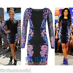 #Womens #Mini #Dress #Celeb #DemiLovato #Bodycon #MeshSleeve Tunic #FloralPrint #Tops