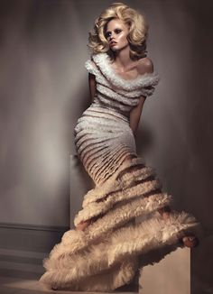 """Lara Stone in Gaultier Paris Chiffon and Tulle Gown - """"One of a Kind"""" by Craig McDean for W Magazine April 2011"""
