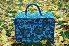 Wonderful Vintage Tapestry Cloth Zippered Suitcase Overnight Bag by retrowarehouse on Etsy