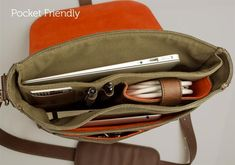 leather field bag interior pockets