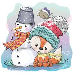 Cute Fox and snowman. Cute Cartoon Fox in a knitted cap and snowman royalty free illustration Snowman Cartoon, Snowman Faces, Cute Cartoon, Scrapbooking Photo, Diy Scrapbook, Coloring For Kids, Free Coloring, Panda Dog, Relaxing Colors