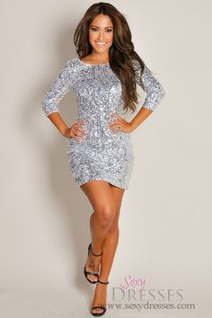Sparkle Glitter and Shine! Sexy Black V-Neck Sequin Dress #Sexy ...